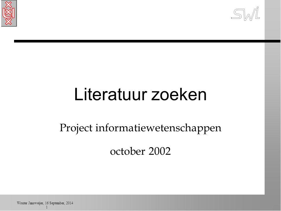 Wouter Jansweijer, 16 September, 2014 22 Endnote: persoonlijke DB