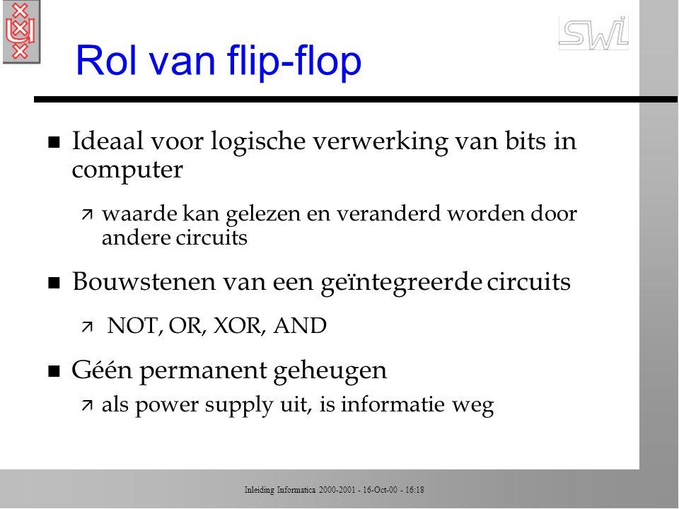 Inleiding Informatica 2000-2001 - 16-Oct-00 - 16:18 samenvatting voorbeeld n Inputs waren 0, output was 0 n Bovenste input tijdelijk naar 1 n Output wordt 1 n Boventste input terug naar 0 n Output blijft 1 n Analoog: tijdelijk 1 op onderste input --> 0