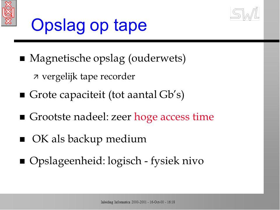 Inleiding Informatica 2000-2001 - 16-Oct-00 - 16:18 Compact disks n Optisch systeem ipv magnetisch n CD bestaat uit reflectief materiaal ä data opgeslagen als variaties in oppervlakte (veranderende reflecties) ä data lezen door variaties te scannen met een laserstraal n Hoge capaciteit (> 600 MB) n Nieuw: DVD = 10 Gb opslagruimte