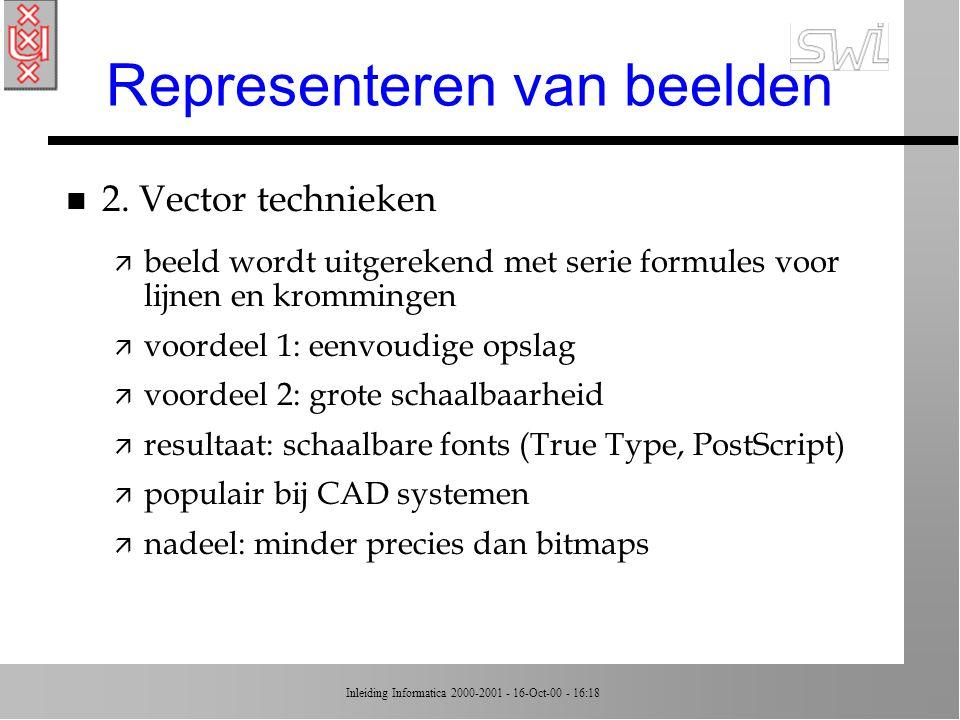 Inleiding Informatica 2000-2001 - 16-Oct-00 - 16:18 Representeren van beelden n 1.