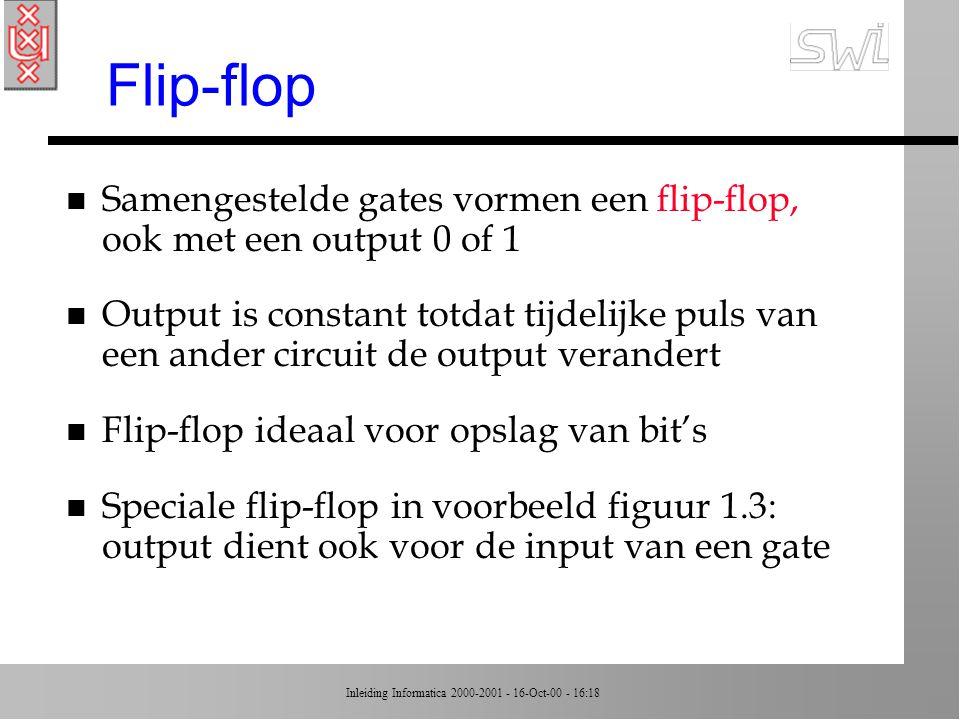 Inleiding Informatica 2000-2001 - 16-Oct-00 - 16:18 Flip-flop n Samengestelde gates vormen een flip-flop, ook met een output 0 of 1 n Output is constant totdat tijdelijke puls van een ander circuit de output verandert n Flip-flop ideaal voor opslag van bit's n Speciale flip-flop in voorbeeld figuur 1.3: output dient ook voor de input van een gate