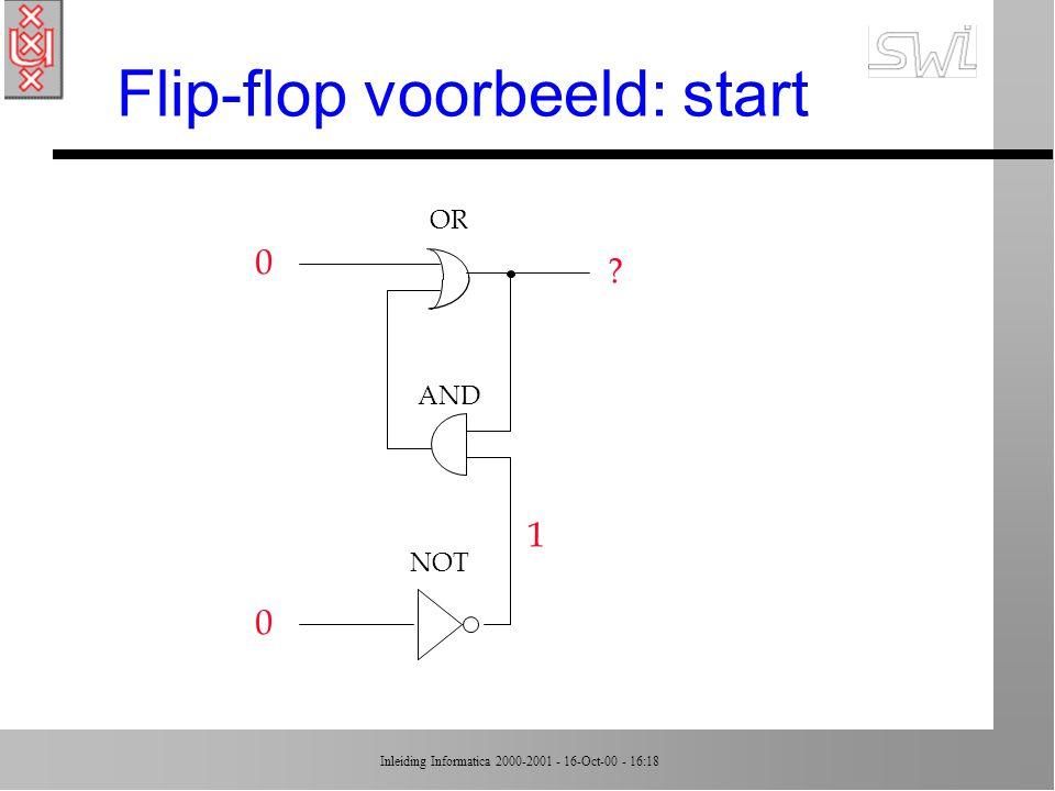 Inleiding Informatica 2000-2001 - 16-Oct-00 - 16:18 Flip-flop voorbeeld: start 0 0 OR AND NOT ? 1