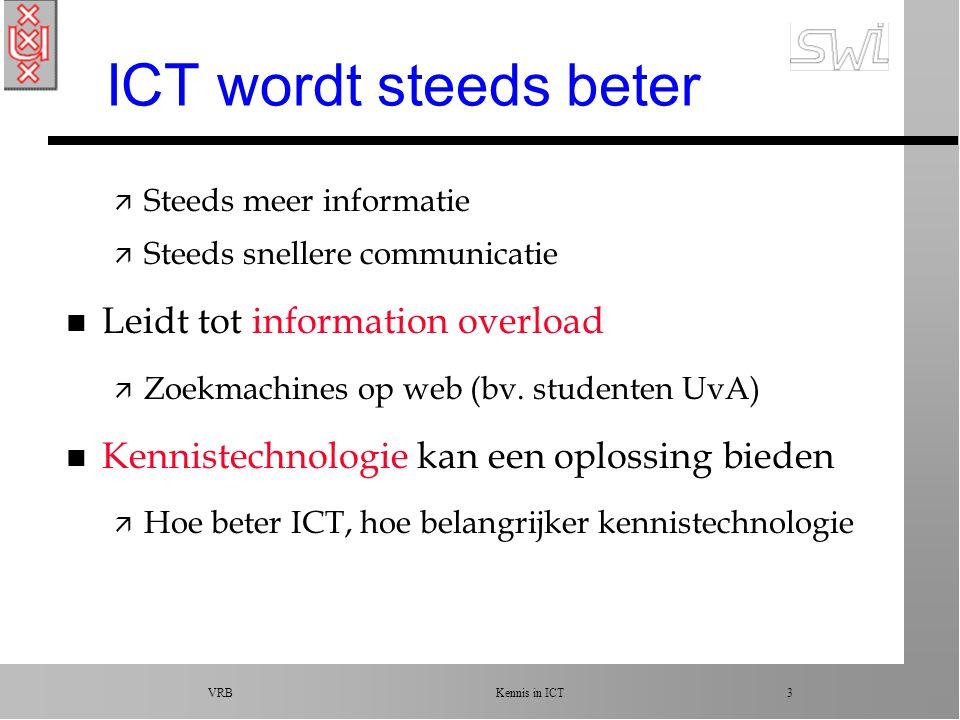 VRB Kennis in ICT 3 ICT wordt steeds beter ä Steeds meer informatie ä Steeds snellere communicatie n Leidt tot information overload ä Zoekmachines op web (bv.