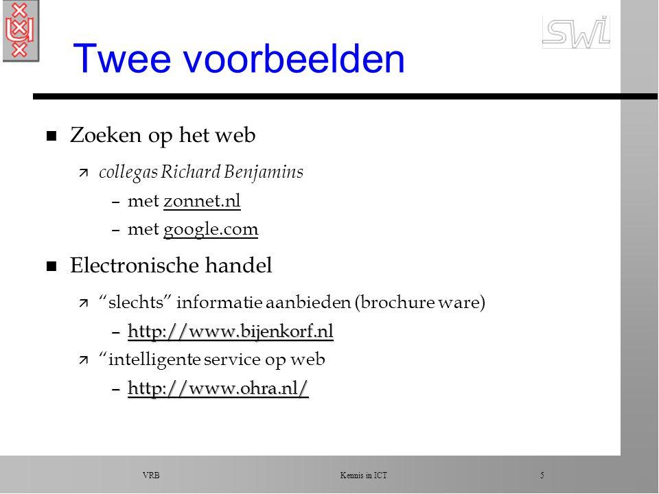 VRB Kennis in ICT 5 Twee voorbeelden