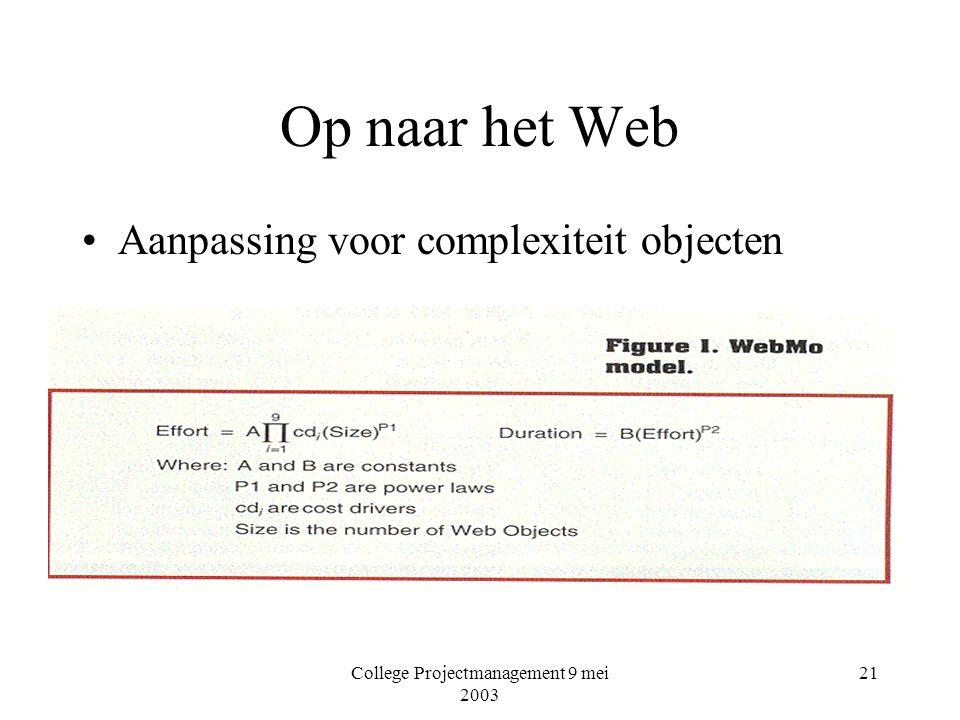 College Projectmanagement 9 mei 2003 21 Op naar het Web Aanpassing voor complexiteit objecten