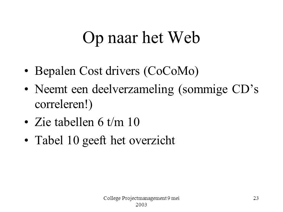 College Projectmanagement 9 mei 2003 23 Op naar het Web Bepalen Cost drivers (CoCoMo) Neemt een deelverzameling (sommige CD's correleren!) Zie tabellen 6 t/m 10 Tabel 10 geeft het overzicht