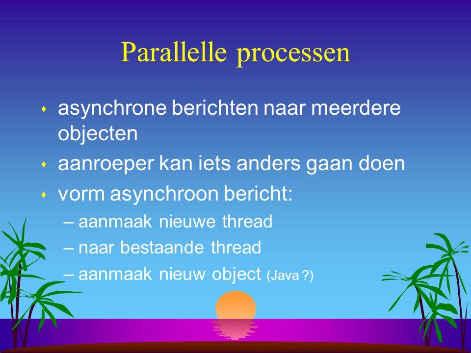 Parallelle processen s asynchrone berichten naar meerdere objecten s aanroeper kan iets anders gaan doen s vorm asynchroon bericht: –aanmaak nieuwe thread –naar bestaande thread –aanmaak nieuw object (Java )