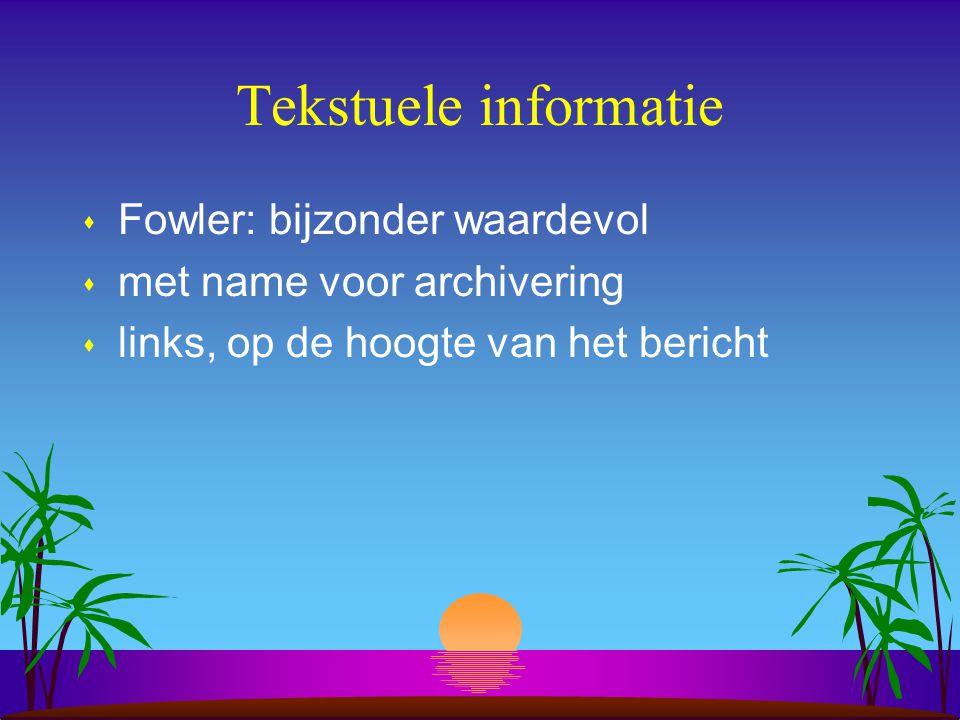 Tekstuele informatie s Fowler: bijzonder waardevol s met name voor archivering s links, op de hoogte van het bericht