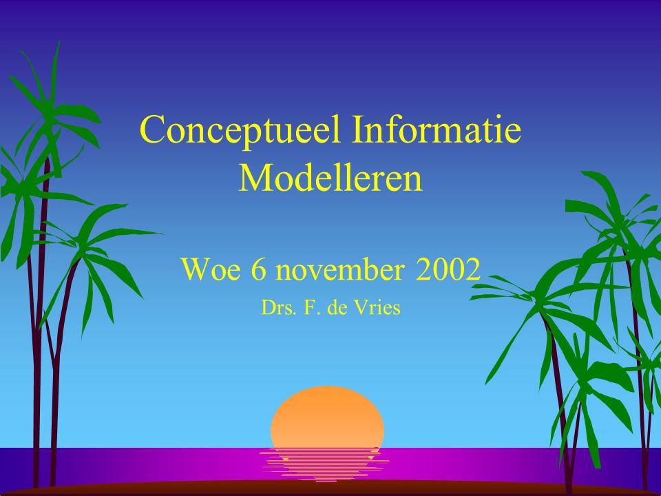 Conceptueel Informatie Modelleren Woe 6 november 2002 Drs. F. de Vries