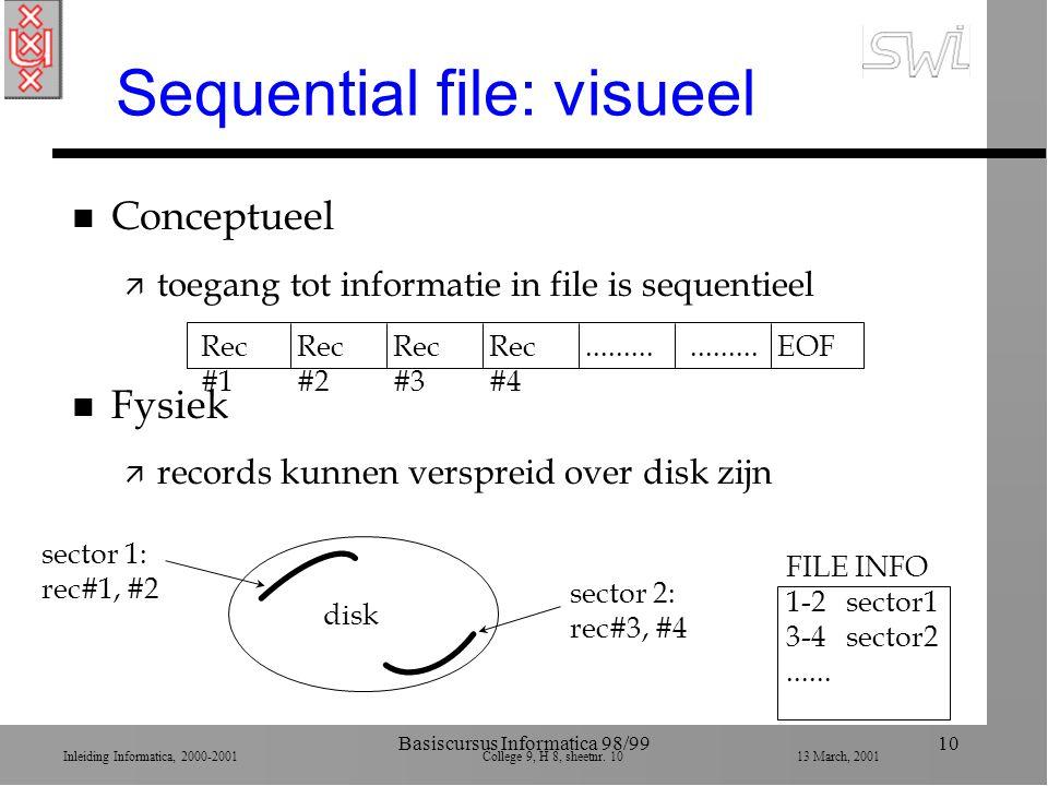 Inleiding Informatica, 2000-2001 College 9, H 8, sheetnr. 1013 March, 2001 Basiscursus Informatica 98/9910 Sequential file: visueel n Conceptueel ä to