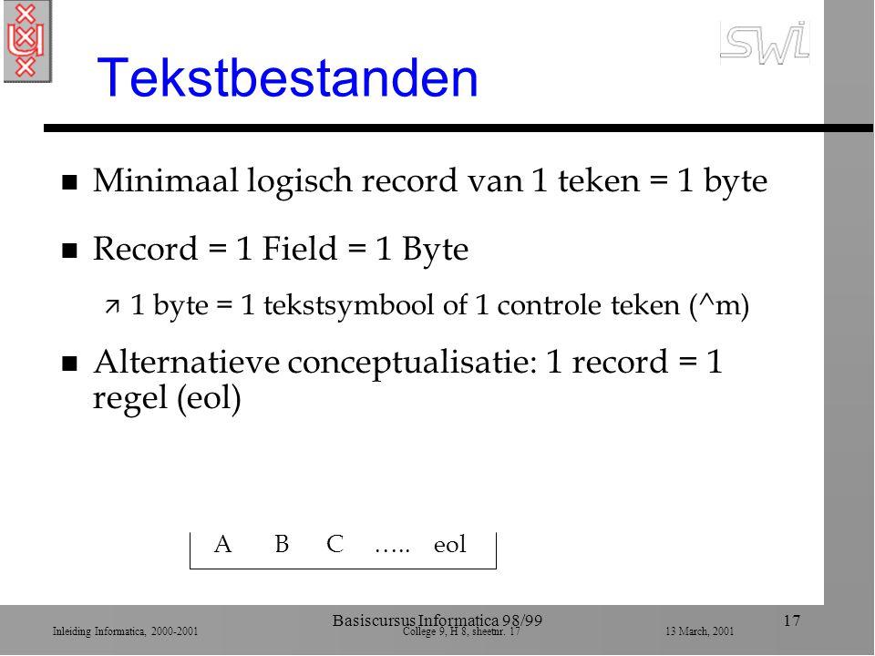 Inleiding Informatica, 2000-2001 College 9, H 8, sheetnr. 1713 March, 2001 Basiscursus Informatica 98/9917 Tekstbestanden n Minimaal logisch record va