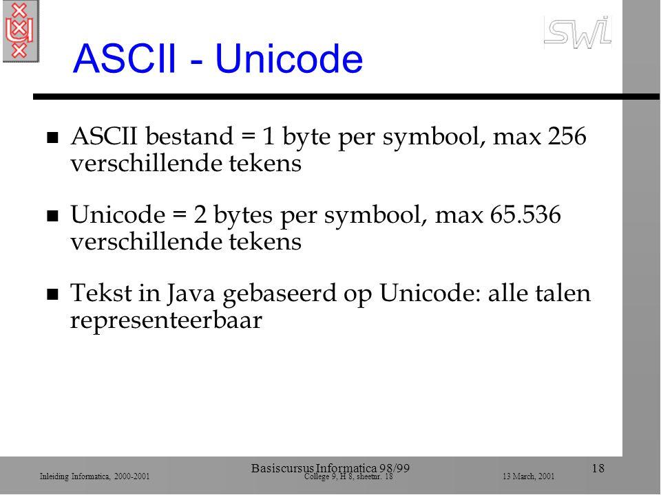 Inleiding Informatica, 2000-2001 College 9, H 8, sheetnr. 1813 March, 2001 Basiscursus Informatica 98/9918 ASCII - Unicode n ASCII bestand = 1 byte pe