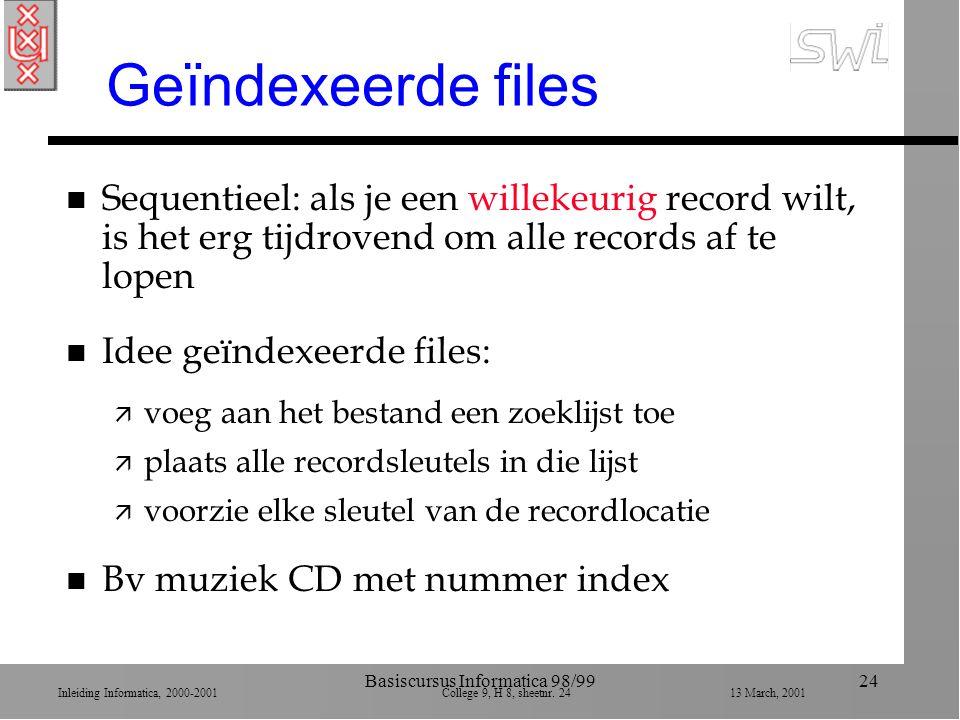 Inleiding Informatica, 2000-2001 College 9, H 8, sheetnr. 2413 March, 2001 Basiscursus Informatica 98/9924 Geïndexeerde files n Sequentieel: als je ee