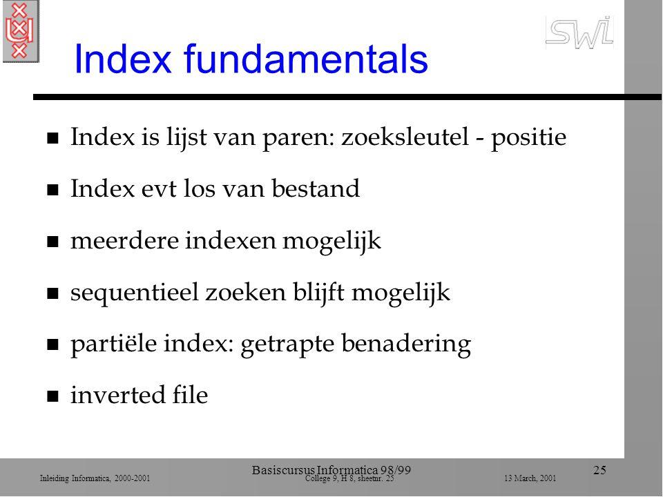 Inleiding Informatica, 2000-2001 College 9, H 8, sheetnr. 2513 March, 2001 Basiscursus Informatica 98/9925 Index fundamentals n Index is lijst van par