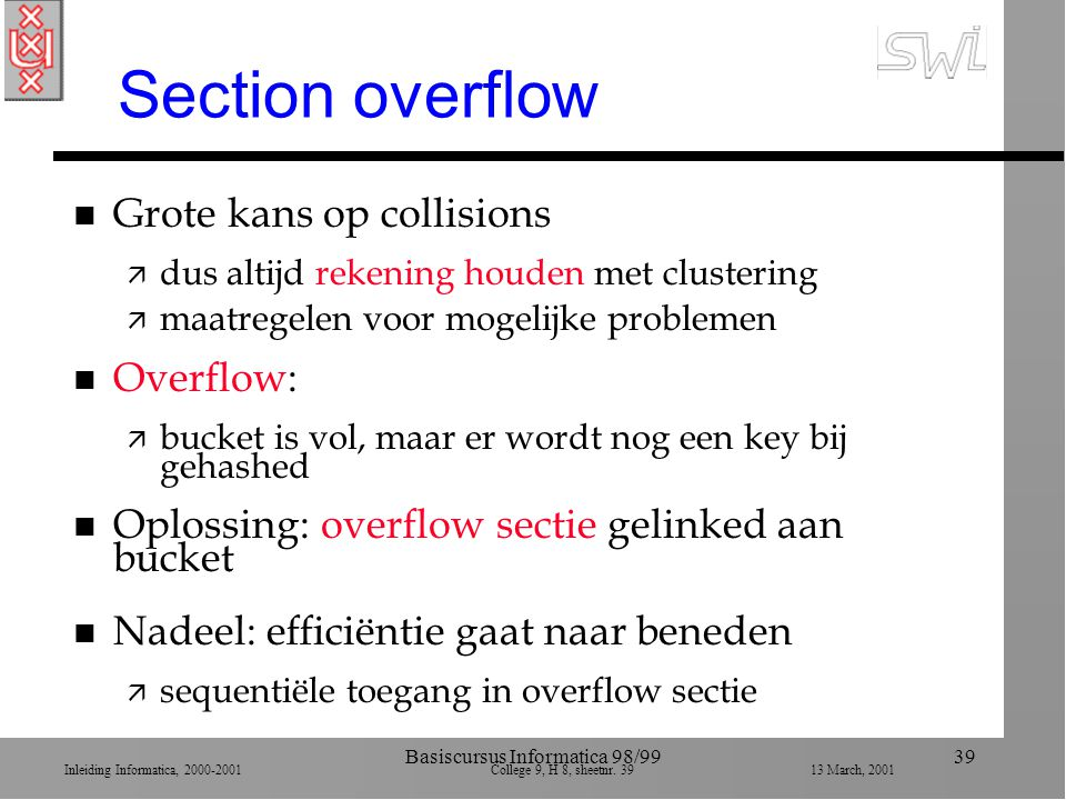 Inleiding Informatica, 2000-2001 College 9, H 8, sheetnr. 3913 March, 2001 Basiscursus Informatica 98/9939 Section overflow n Grote kans op collisions