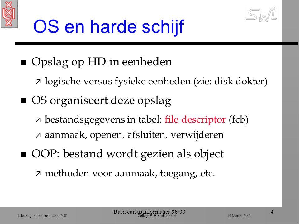 Inleiding Informatica, 2000-2001 College 9, H 8, sheetnr. 413 March, 2001 Basiscursus Informatica 98/994 OS en harde schijf n Opslag op HD in eenheden