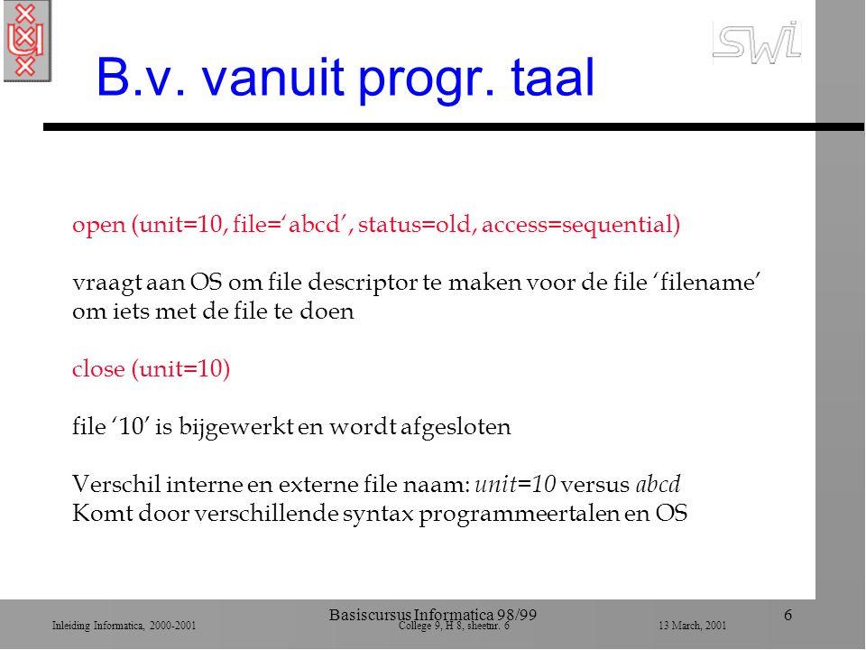 Inleiding Informatica, 2000-2001 College 9, H 8, sheetnr. 613 March, 2001 Basiscursus Informatica 98/996 B.v. vanuit progr. taal open (unit=10, file='