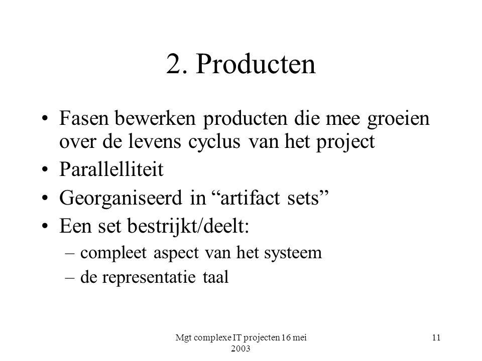 Mgt complexe IT projecten 16 mei 2003 11 2. Producten Fasen bewerken producten die mee groeien over de levens cyclus van het project Parallelliteit Ge