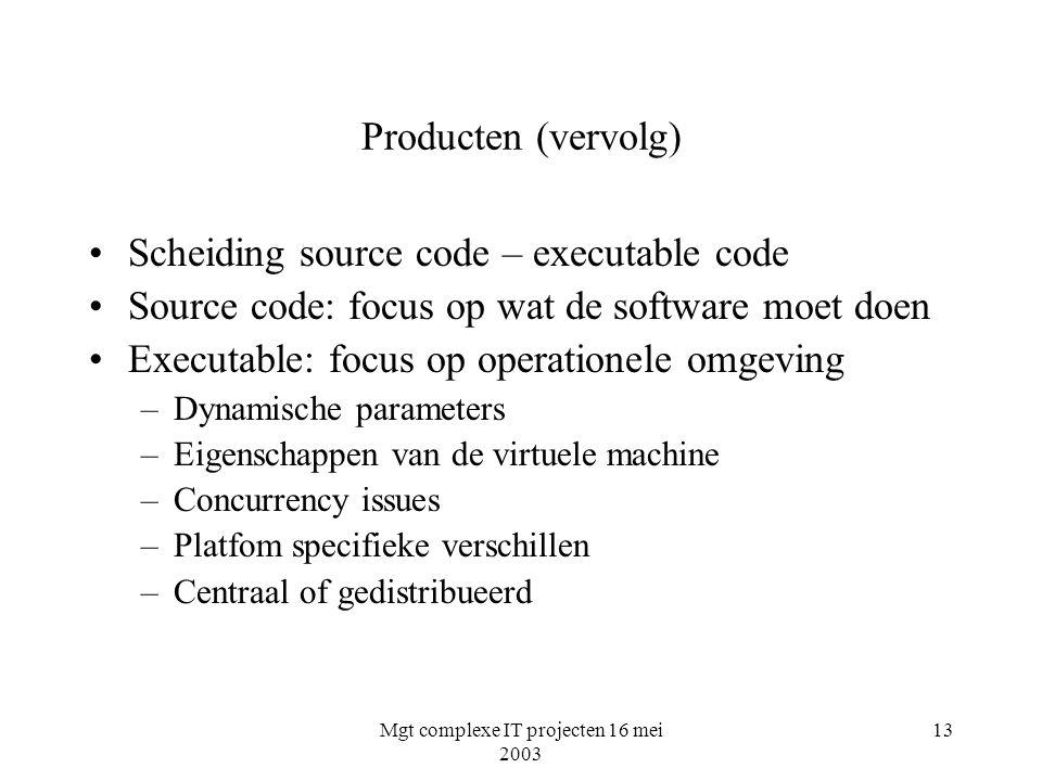 Mgt complexe IT projecten 16 mei 2003 13 Producten (vervolg) Scheiding source code – executable code Source code: focus op wat de software moet doen E
