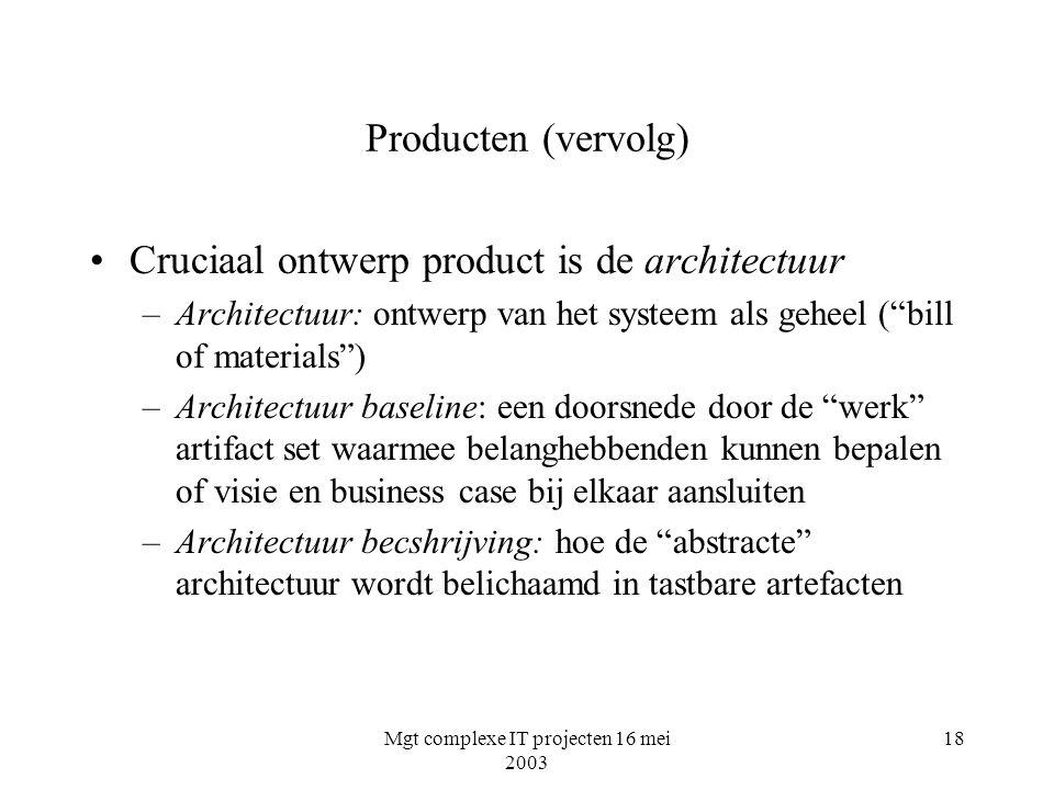 Mgt complexe IT projecten 16 mei 2003 18 Producten (vervolg) Cruciaal ontwerp product is de architectuur –Architectuur: ontwerp van het systeem als ge