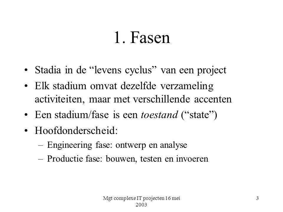 """Mgt complexe IT projecten 16 mei 2003 3 1. Fasen Stadia in de """"levens cyclus"""" van een project Elk stadium omvat dezelfde verzameling activiteiten, maa"""