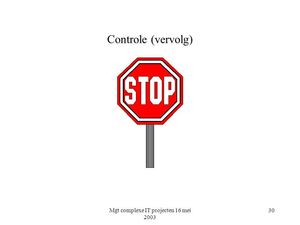 Mgt complexe IT projecten 16 mei 2003 30 Controle (vervolg)