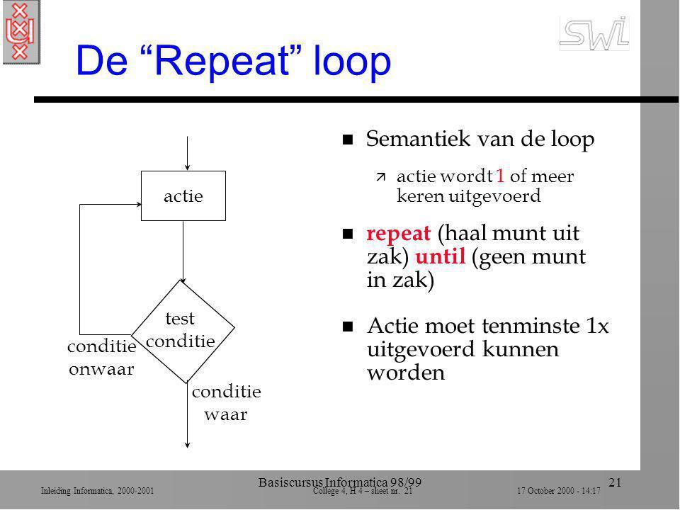 """Inleiding Informatica, 2000-2001 College 4, H 4 – sheet nr. 2117 October 2000 - 14:17 Basiscursus Informatica 98/9921 De """"Repeat"""" loop conditie waar c"""