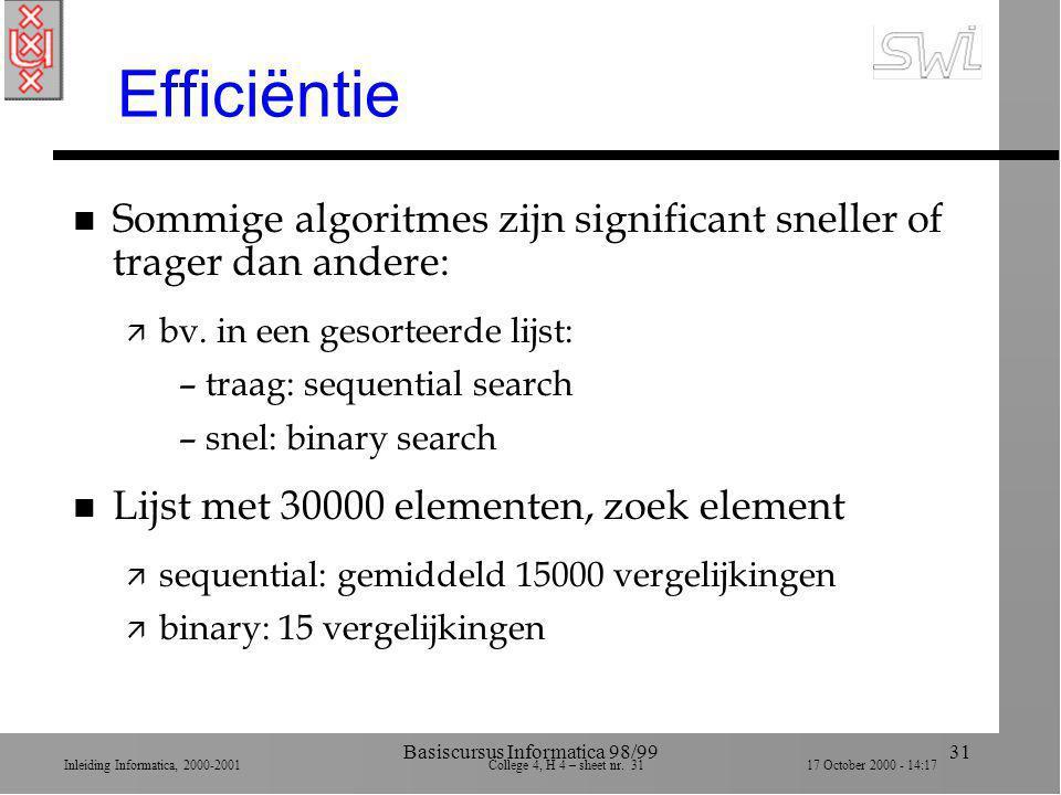 Inleiding Informatica, 2000-2001 College 4, H 4 – sheet nr. 3117 October 2000 - 14:17 Basiscursus Informatica 98/9931 Efficiëntie n Sommige algoritmes