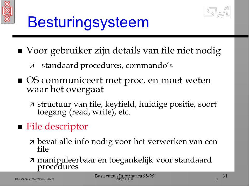 Basiscursus Informatica, 98-99 College 8, H 8 31 Basiscursus Informatica 98/9931 Besturingsysteem n Voor gebruiker zijn details van file niet nodig ä standaard procedures, commando's n OS communiceert met proc.