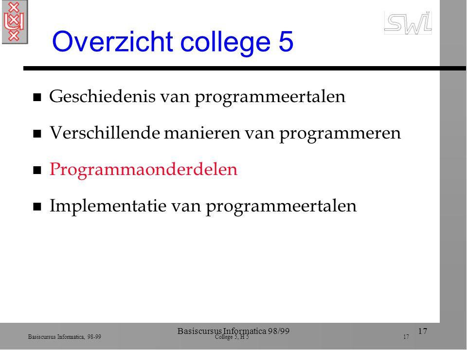 Basiscursus Informatica, 98-99 College 5, H 5 17 Basiscursus Informatica 98/9917 Overzicht college 5 n Geschiedenis van programmeertalen n Verschillende manieren van programmeren n Programmaonderdelen n Implementatie van programmeertalen