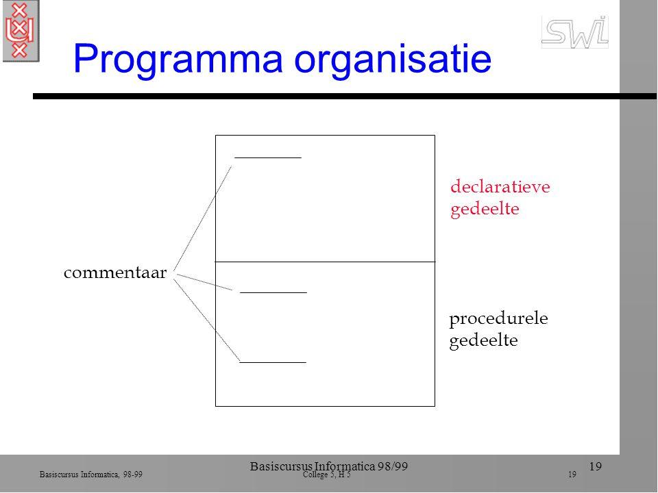 Basiscursus Informatica, 98-99 College 5, H 5 19 Basiscursus Informatica 98/9919 Programma organisatie declaratieve gedeelte procedurele gedeelte commentaar
