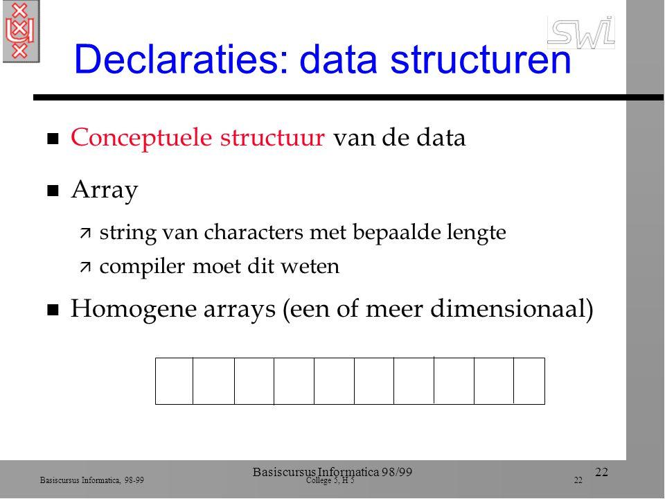 Basiscursus Informatica, 98-99 College 5, H 5 22 Basiscursus Informatica 98/9922 Declaraties: data structuren n Conceptuele structuur van de data n Array ä string van characters met bepaalde lengte ä compiler moet dit weten n Homogene arrays (een of meer dimensionaal)