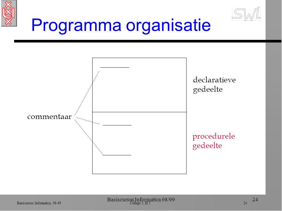 Basiscursus Informatica, 98-99 College 5, H 5 24 Basiscursus Informatica 98/9924 Programma organisatie declaratieve gedeelte procedurele gedeelte commentaar