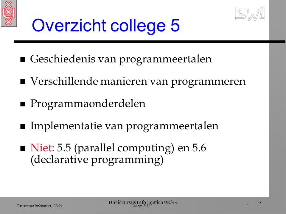 Basiscursus Informatica, 98-99 College 5, H 5 3 Basiscursus Informatica 98/993 Overzicht college 5 n Geschiedenis van programmeertalen n Verschillende manieren van programmeren n Programmaonderdelen n Implementatie van programmeertalen n Niet: 5.5 (parallel computing) en 5.6 (declarative programming)