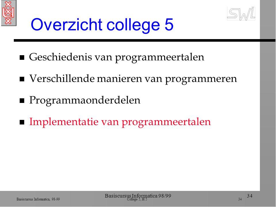 Basiscursus Informatica, 98-99 College 5, H 5 34 Basiscursus Informatica 98/9934 Overzicht college 5 n Geschiedenis van programmeertalen n Verschillende manieren van programmeren n Programmaonderdelen n Implementatie van programmeertalen
