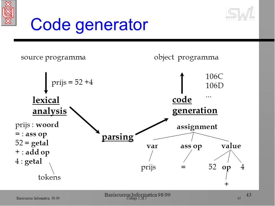 Basiscursus Informatica, 98-99 College 5, H 5 43 Basiscursus Informatica 98/9943 Code generator source programma prijs = 52 +4 lexical analysis prijs : woord = : ass op 52 = getal + : add op 4 : getal tokens parsing code generation assignment varass opvalue prijs=52 + 4 op object programma 106C 106D...