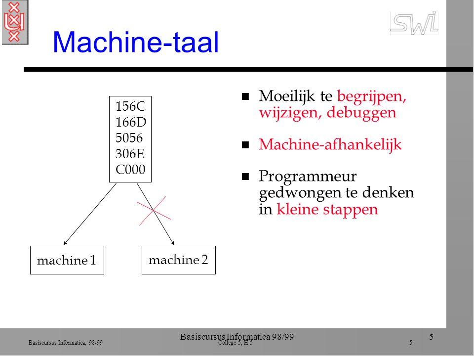 Basiscursus Informatica, 98-99 College 5, H 5 5 Basiscursus Informatica 98/995 Machine-taal n Moeilijk te begrijpen, wijzigen, debuggen n Machine-afhankelijk n Programmeur gedwongen te denken in kleine stappen 156C 166D 5056 306E C000 machine 1machine 2