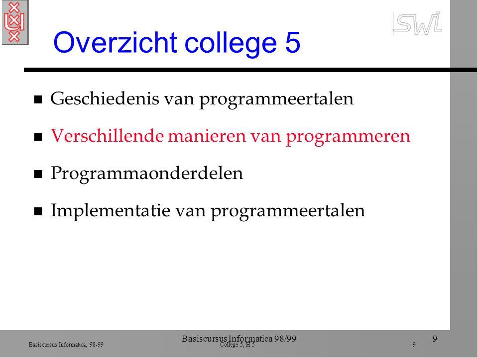 Basiscursus Informatica, 98-99 College 5, H 5 9 Basiscursus Informatica 98/999 Overzicht college 5 n Geschiedenis van programmeertalen n Verschillende manieren van programmeren n Programmaonderdelen n Implementatie van programmeertalen