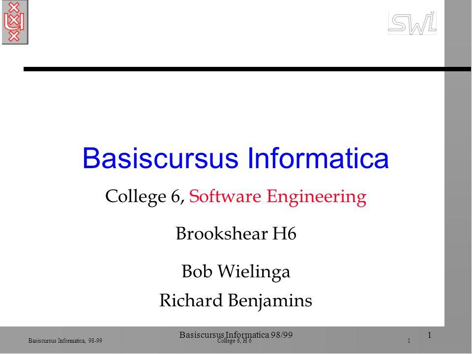 Basiscursus Informatica, 98-99 College 6, H 6 22 Basiscursus Informatica 98/9922 Cohesie n Maximale cohesie n Interne binding van een module ä hoe sterk zijn de delen van een module verbonden ä ondersteunt latere wijzigingen (is eenheid) n Logische cohesie: onderdelen doen zelfde soort actie (in OO is dit standaard) n Functionele cohesie: onderdelen dragen bij aan zelfde actie