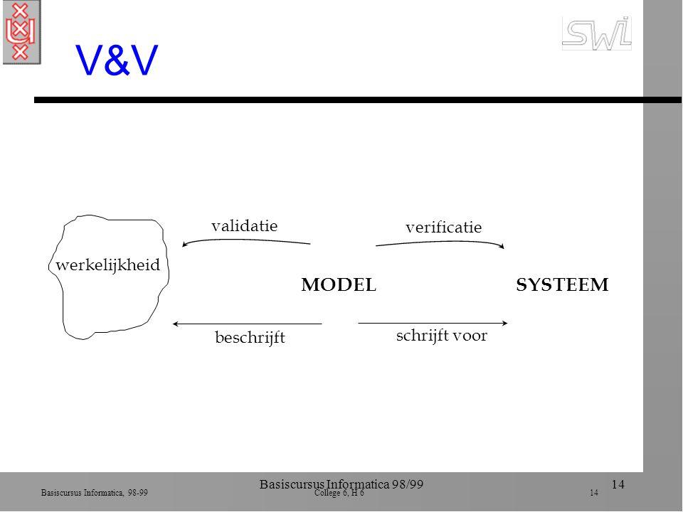 Basiscursus Informatica, 98-99 College 6, H 6 14 Basiscursus Informatica 98/9914 V&V MODELSYSTEEM werkelijkheid beschrijft schrijft voor validatie verificatie