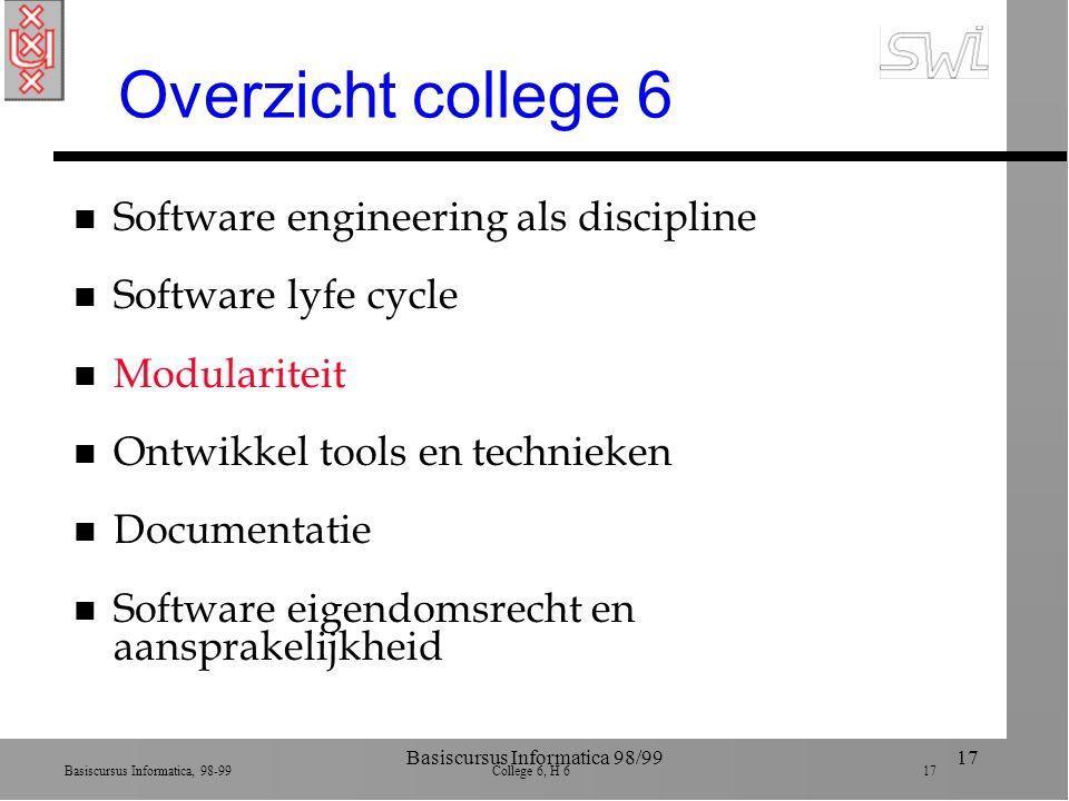 Basiscursus Informatica, 98-99 College 6, H 6 17 Basiscursus Informatica 98/9917 Overzicht college 6 n Software engineering als discipline n Software