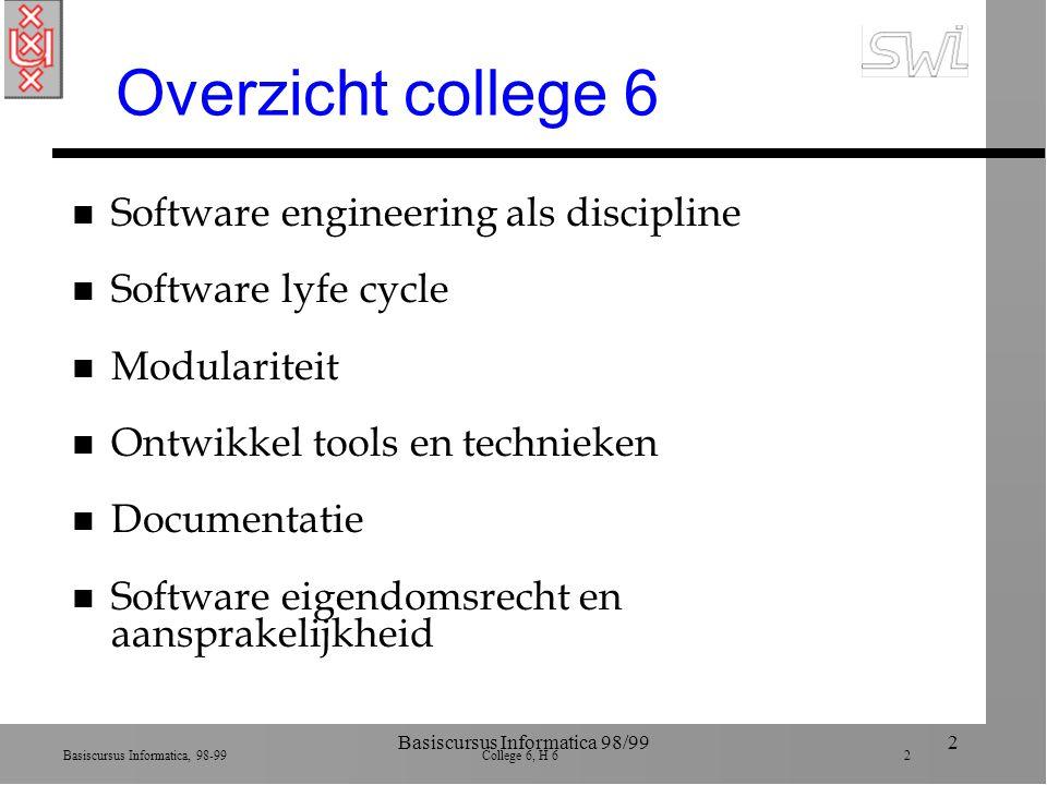 Basiscursus Informatica, 98-99 College 6, H 6 2 Basiscursus Informatica 98/992 Overzicht college 6 n Software engineering als discipline n Software ly
