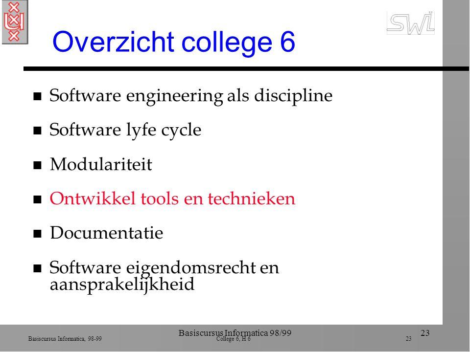 Basiscursus Informatica, 98-99 College 6, H 6 23 Basiscursus Informatica 98/9923 Overzicht college 6 n Software engineering als discipline n Software