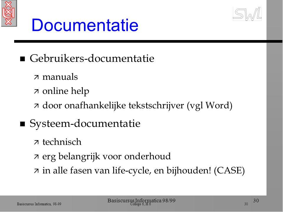 Basiscursus Informatica, 98-99 College 6, H 6 30 Basiscursus Informatica 98/9930 Documentatie n Gebruikers-documentatie ä manuals ä online help ä door