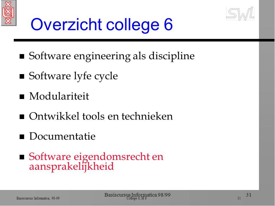 Basiscursus Informatica, 98-99 College 6, H 6 31 Basiscursus Informatica 98/9931 Overzicht college 6 n Software engineering als discipline n Software
