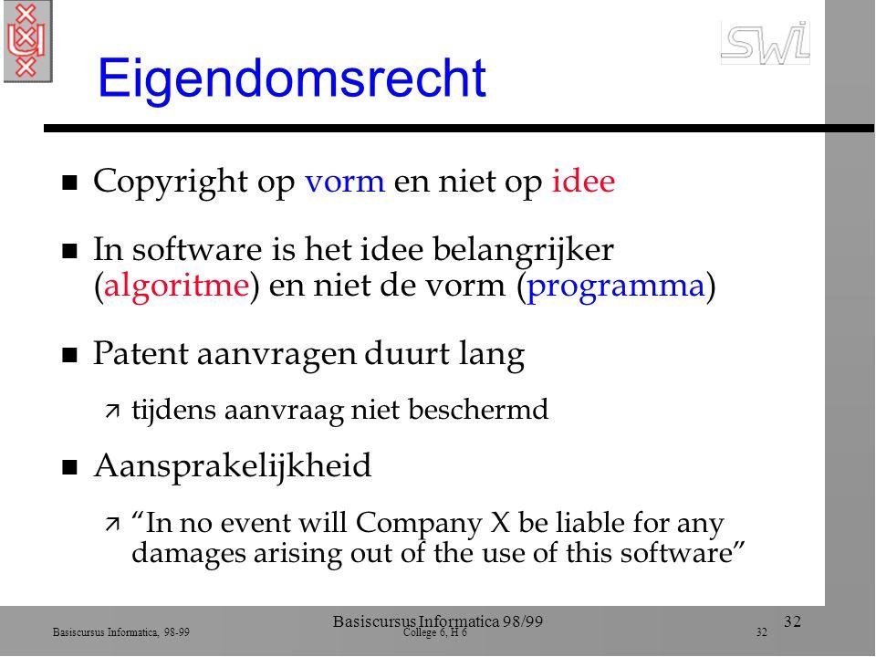 Basiscursus Informatica, 98-99 College 6, H 6 32 Basiscursus Informatica 98/9932 Eigendomsrecht n Copyright op vorm en niet op idee n In software is h