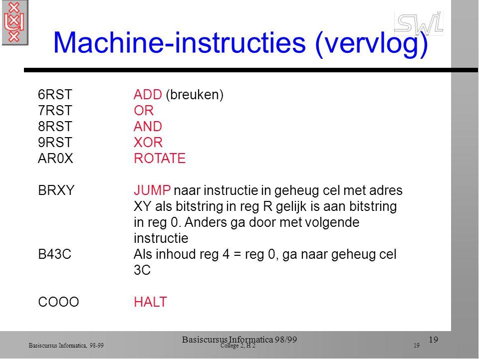 Basiscursus Informatica, 98-99 College 2, H 2 18 Basiscursus Informatica 98/9918 Machine-instructies (vb) 1RXYLOAD reg R met inhoud van geheug cel XY 14A3Stop inhoud van cel A3 in reg 4 1347Stop inhoud van cel 47 in reg 3 2RXYLOAD reg R met bitstring XY 20A3Stop bitstring A3 in reg 4 2347Stop bitstring 47 in reg 3 3RXYSTORE inhoud van reg R in geheug cel met adres XY 35B1Stop inhoud van reg 5 in geheug cel B1 40RSMOVE bitstring in reg R naar reg S 40A4Copieer inhoud reg A naar reg 4 5RSTADD bitstrings in reg S en T en stop res in reg R