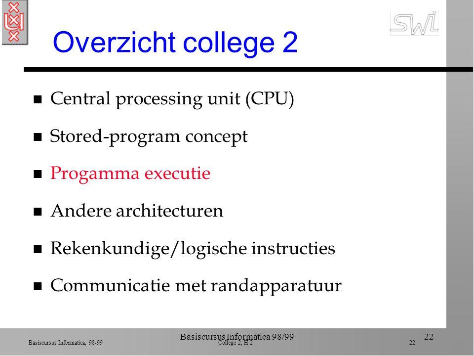 Basiscursus Informatica, 98-99 College 2, H 2 21 Basiscursus Informatica 98/9921 Voorbeeld programma n Stap 1.