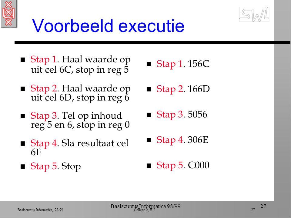 Basiscursus Informatica, 98-99 College 2, H 2 26 Basiscursus Informatica 98/9926 JUMP instructie n B258: als inhoud reg2=reg0, spring naar instructie in cel 58 n Wat er gebeurt in de executie : ä als inhoud reg2=reg0, stop adres cel 58 in programma teller ä overschrijf oude waarde die eerder in cyclus was opgehaald n Volgende fetch heeft nieuw adres (van JUMP)