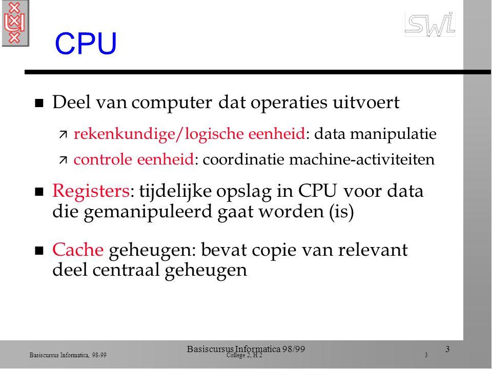 Basiscursus Informatica, 98-99 College 2, H 2 53 Basiscursus Informatica 98/9953 Communicatie: contr-CPU n Analoog aan CPU-main memory n Memory-mapped: controler is onderdeel van main memory (1 adres-systeem) n Niet memory-mapped: apparte adressering ä I/O adres (bv.